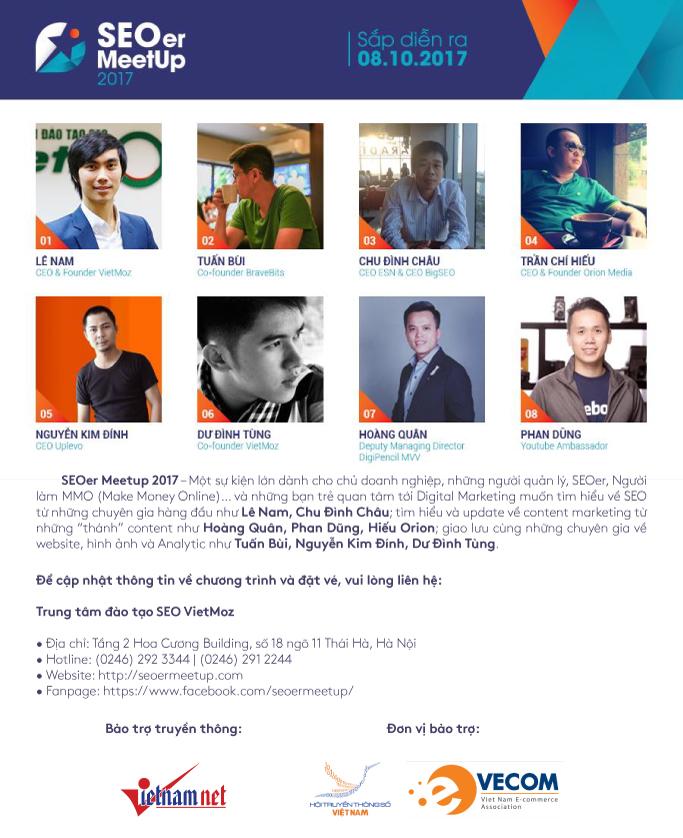 Sự kiện SEO MeetUp với sự tham gia của 8 vị diễn giả hành đầu Việt Nam